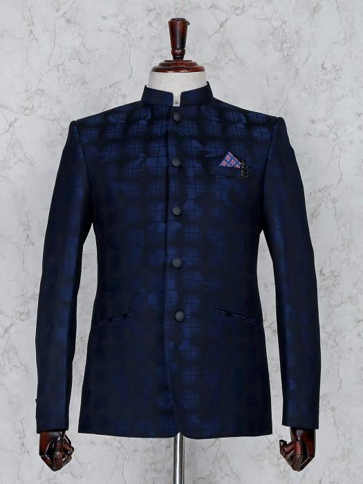 Navy Hue Terry Rayon Fabric Stand Collar Jodhpuri