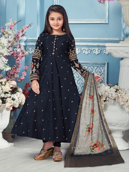 Navy Raw Silk Party Floor Length Anarkali Suit