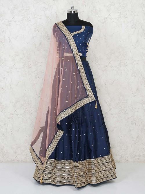 Navy Semi Stitched Ghaghra Choli In Silk For Wedding