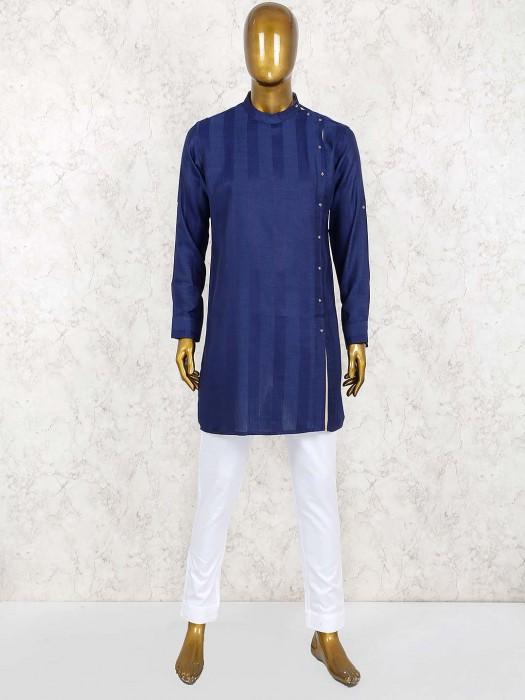 Navy Solid Cotton Bandhgala Kurta Suit