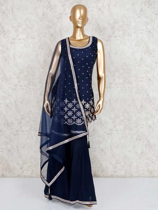 Navy U Neck Designer Indo Western Sharara Dress