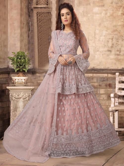 Net Dusty Pink Sweetheart Neck Punjabi Lehenga Suit
