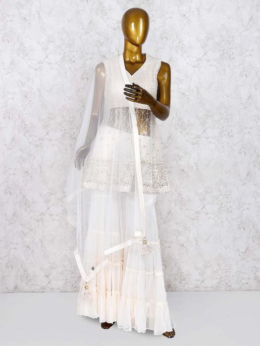 Net Fabric Cream Hue Punjabi Sharara Suit