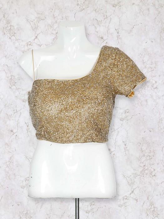 Net Fabric Golden Hue Designer Blouse