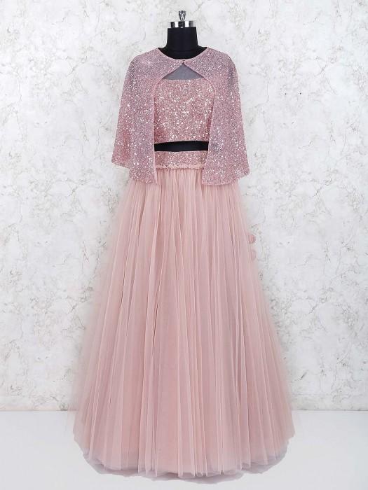 Net Fabric Party Wear Jacket Style Pink Lehenga Choli