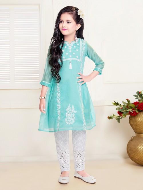 Net Festive Aqua Pant Salwar Suit