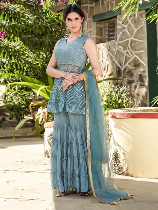 Net Georgette Blue Designer Sharara Suit