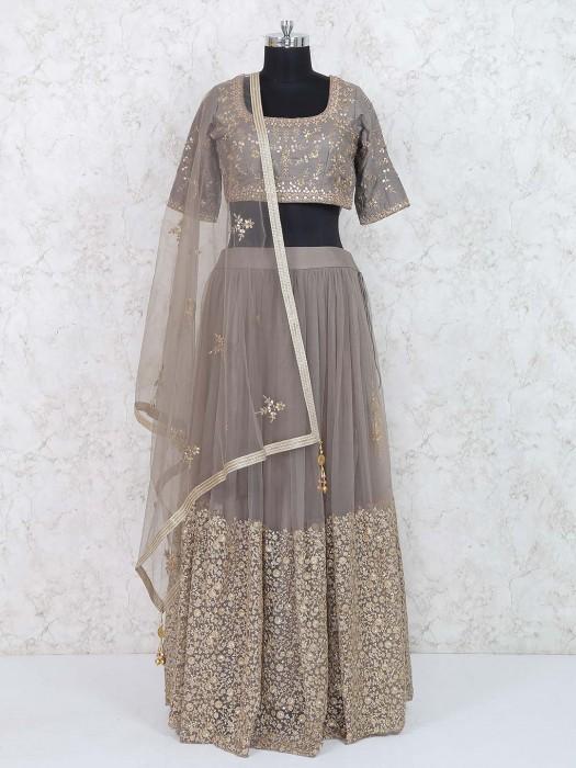 Net Lehenga Choli In Grey Color