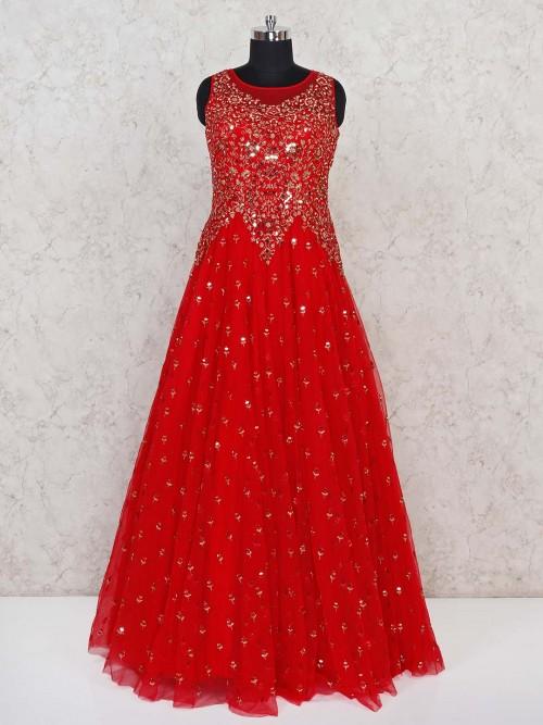 Net Red Designer Party Wear Gown