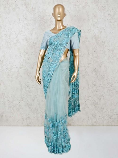 Net Sky Blue Wedding Wear Saree