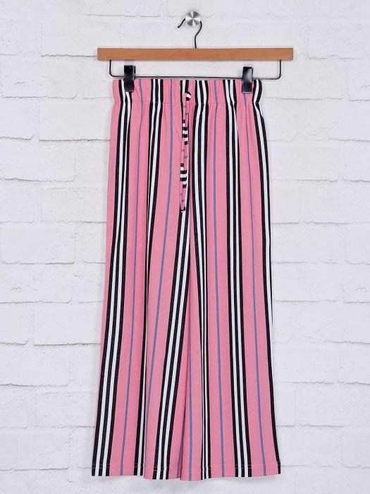 No Doubt Stripe Design Pink Cotton Palazzo