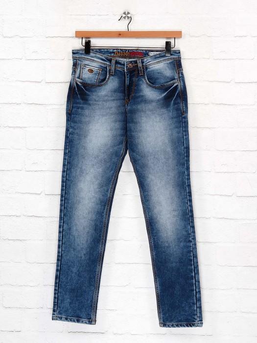 Nostrum Denim Blue Washed Slim Fit Jeans