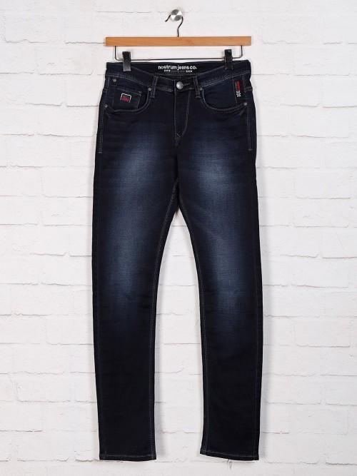 Nostrum Solid Navy Slim Fit  Jeans