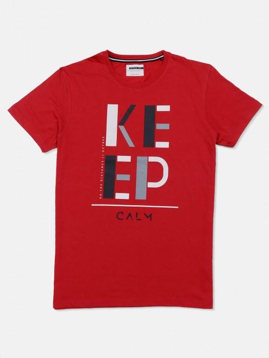 Octave Red Printed Regular Wear T-shirt