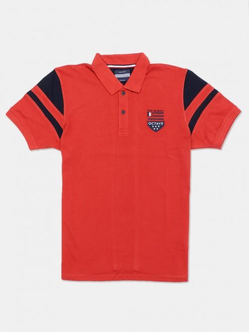Octave Rust Orange Solid Cotton T-shirt
