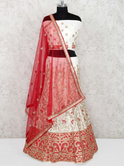 Off White Color Silk Semi Stitched Lehenga Choli