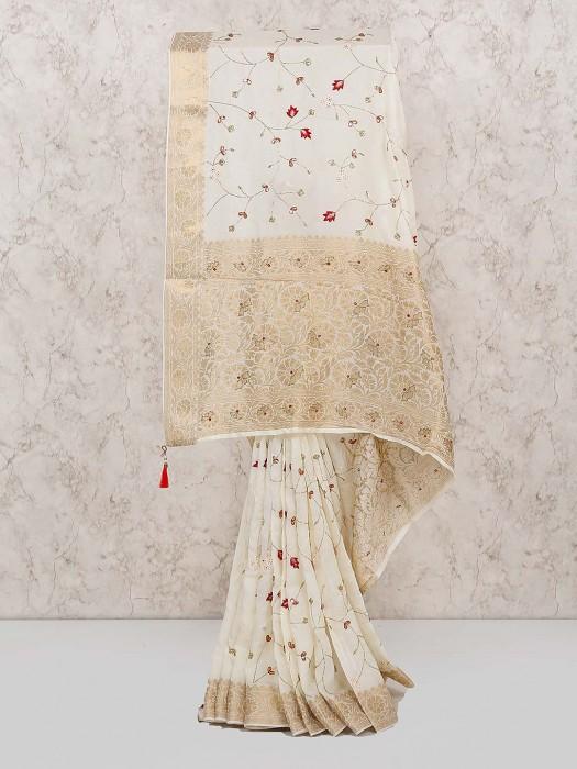 Off White Cotton Fabric Saree