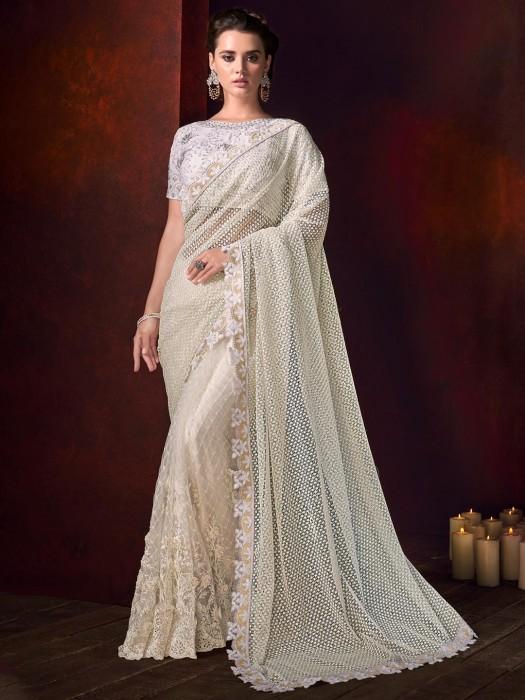 Off White Crosset Net Half And Half Beautiful Saree