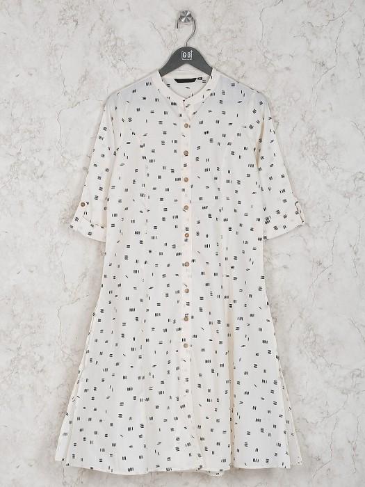 Off White Fabric Printed Cotton Kurti