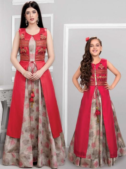 Magenta And Beige Cotton Silk Mother Daughter Anarkali Suit