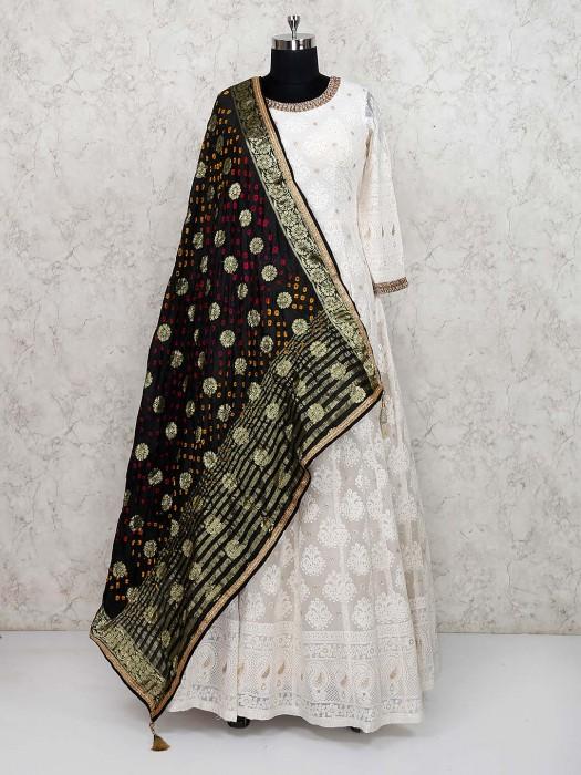 Off White Party Wear Georgette Fabric Floor Length Anarkali Salwar Suit