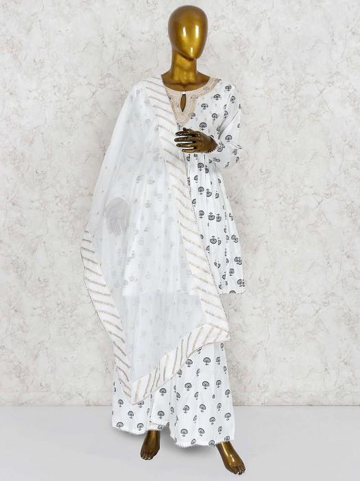 Off White Printed Punjabi Sharara Suit In Cotton