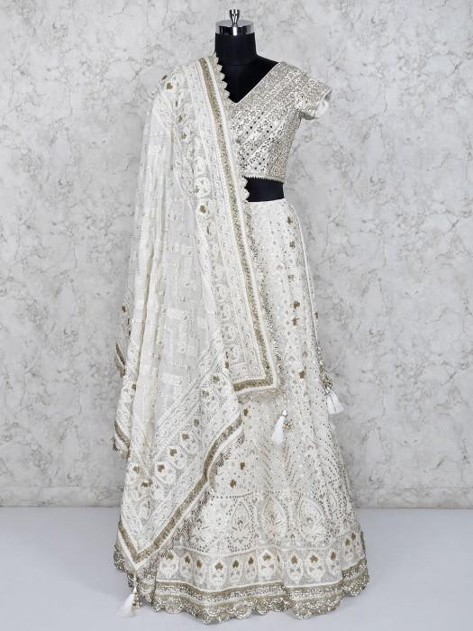 Off White Wedding Georgette Fabric Lehenga Choli