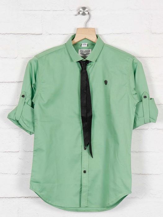 Okids Light Green Solid Boys Shirt