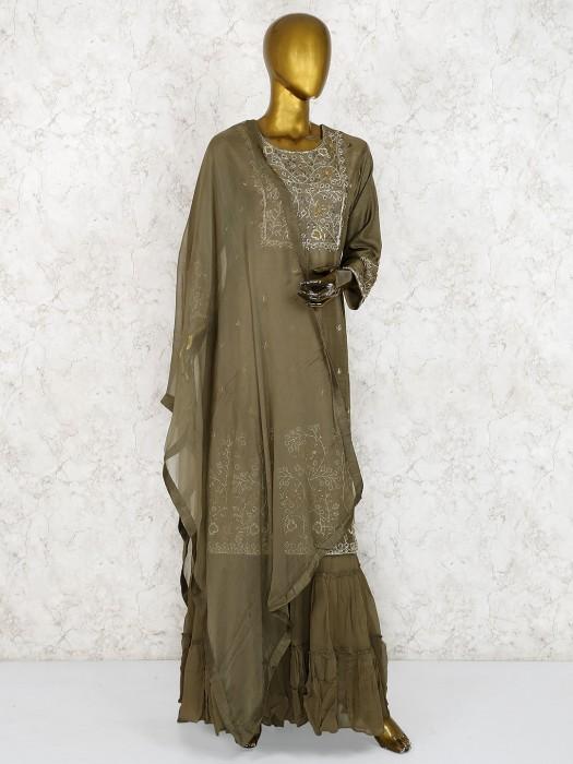 Olive Color Raw Silk Fabric Punjabi Sharara Suit