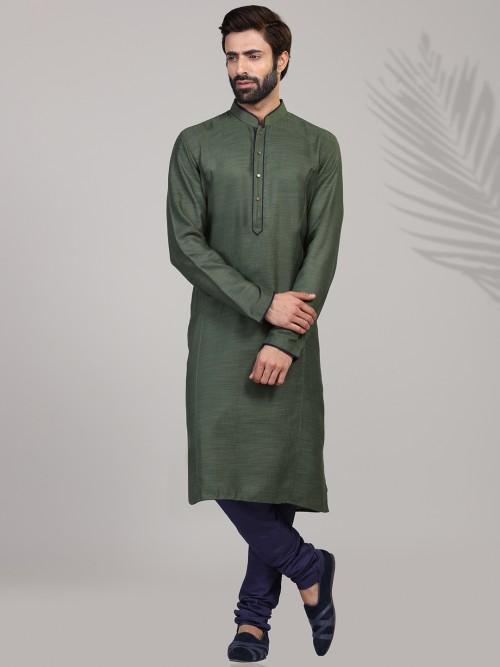 Olive Cotton Full Sleeves Solid Kurta Suit