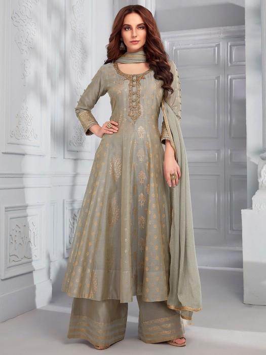 Olive Cotton Silk Designer Party Pakistani Style Palazzo Suit