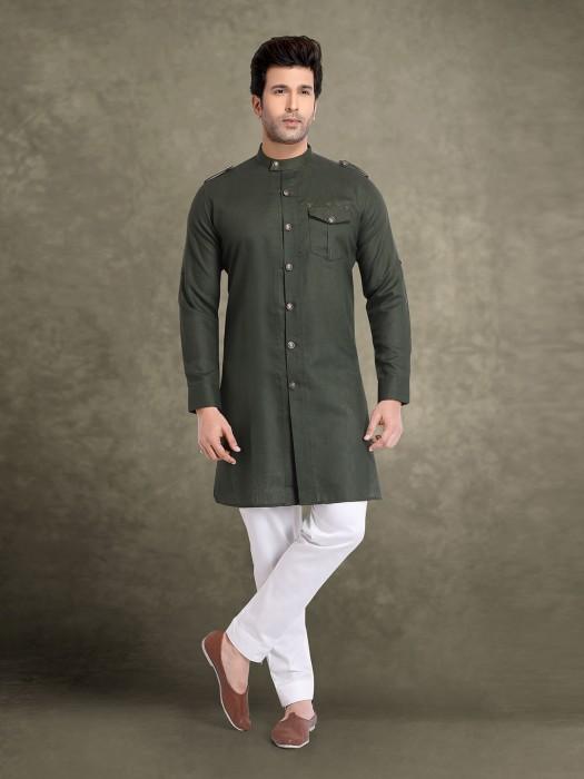 Olive Cotton Solid Festive Kurta Suit