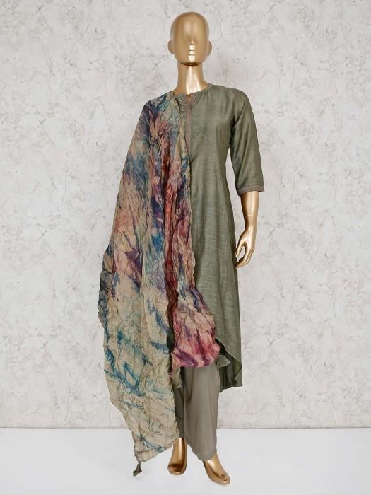 Olive Cotton Solid Punjabi Palazzo Suit