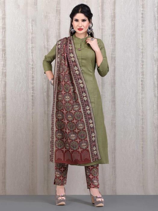 Olive Cotton Solid Punjabi Straight Cut Pant Suit