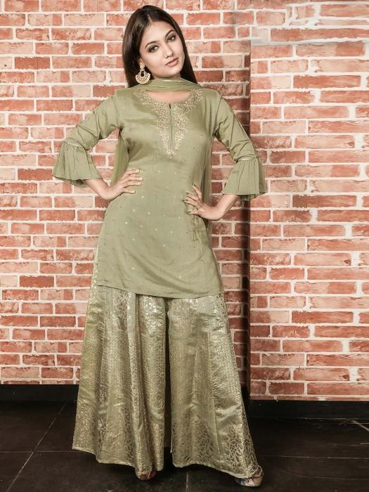 Olive Green Punjabi Sharara Suit In Cotton Silk