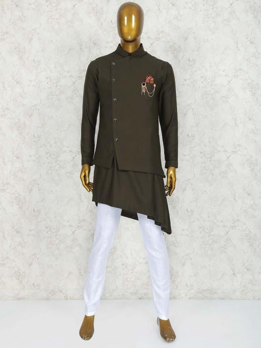 Olive Green Terry Rayon Fabric Waistcoat Set