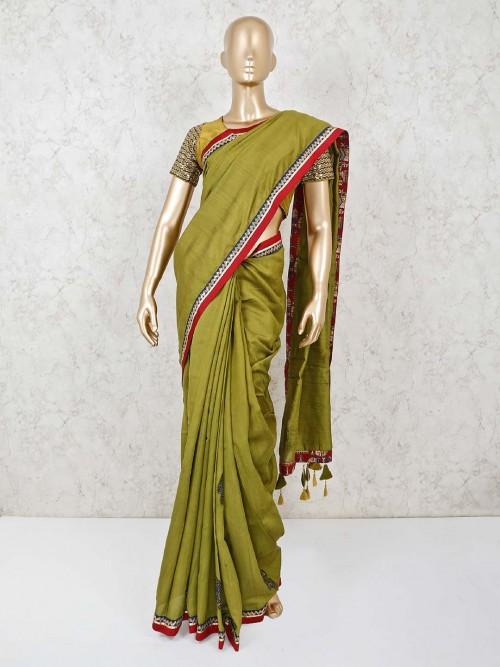 Olive Pashmina Silk Ready Made Blouse Saree For Festival