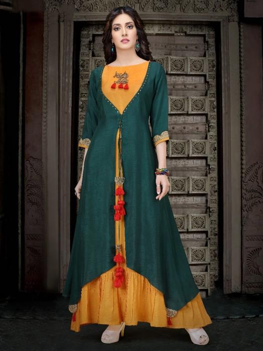 Orange And Green Raw Silk Long Kurti