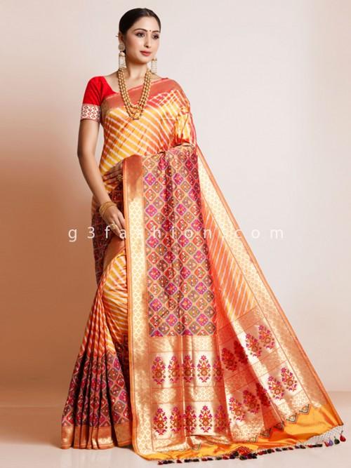 Orange Banarasi Pathani Silk Saree