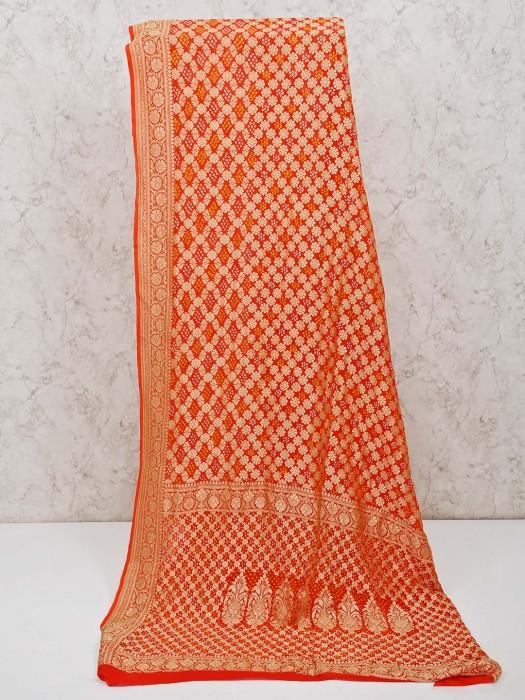 Orange Bandhej Saree With Matching Blouse Piece