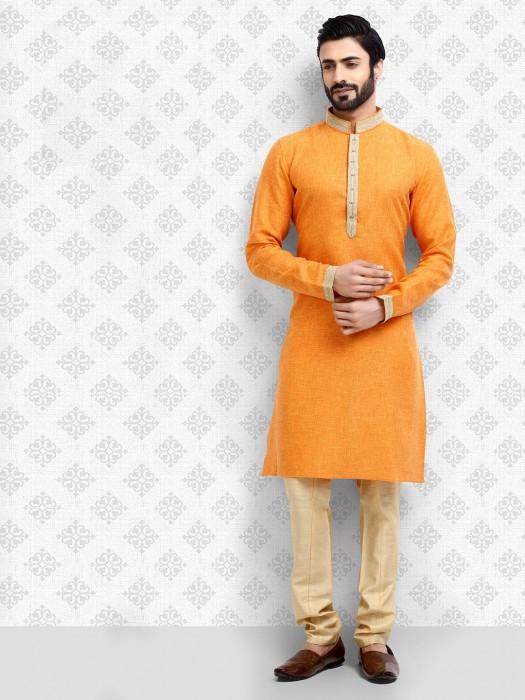 Orange Color Cotton Stand Collar Kurta Suit