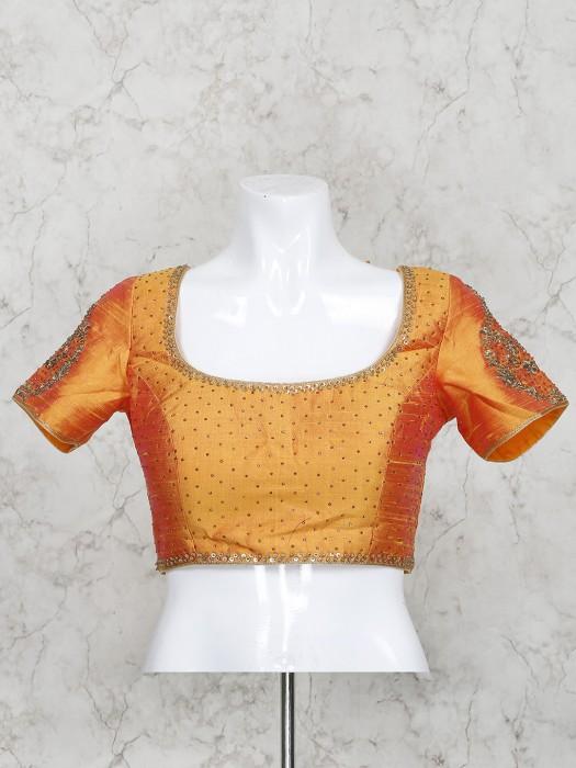 Orange Color Half Sleeves Raw Silk Ready Made Blouse
