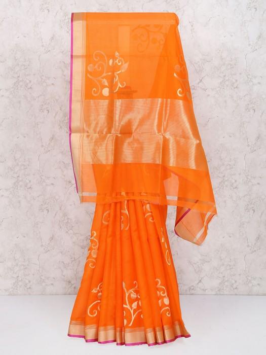 Orange Color Pure Silk Zari Saree