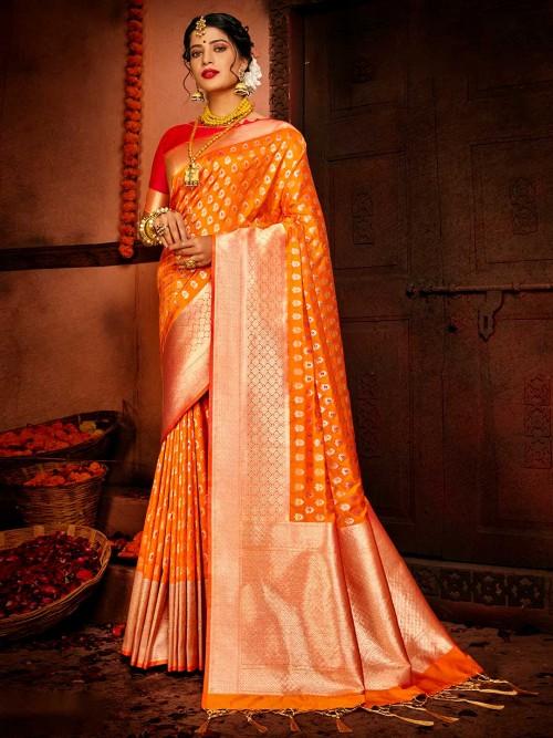 Orange Colour Banarasi Wedding Saree