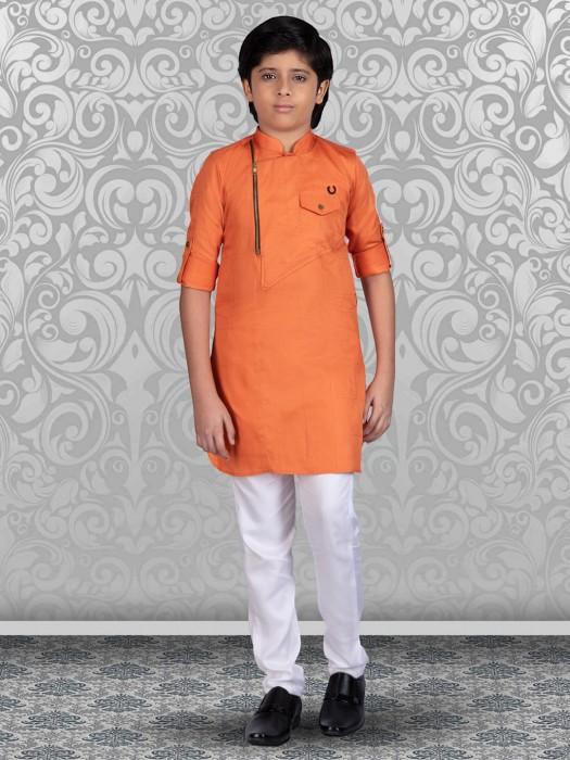 Orange Cotton Festive Wear Kurta Suit