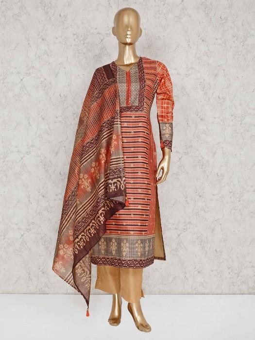 Orange Cotton Printed Punjabi Pant Suit