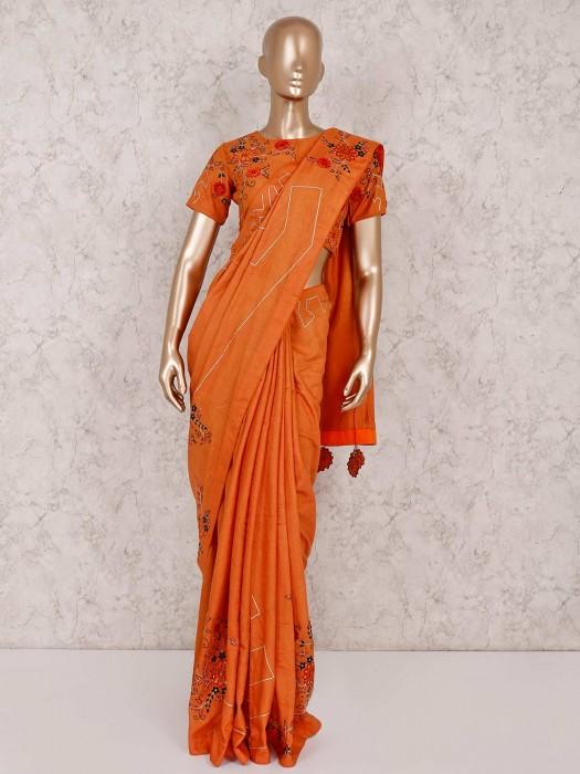 Orange Cotton Silk Saree With Ready Made Blouse
