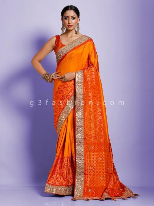 Orange Designer Latest Collection Saree In Hydrabadi Patola Silk