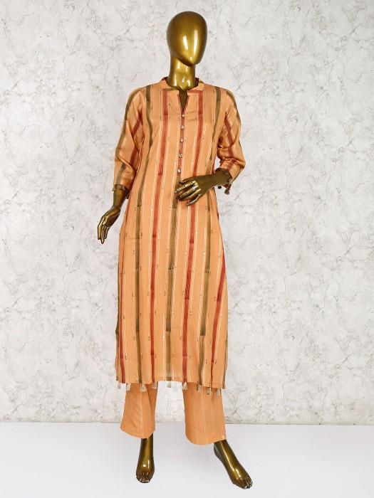 Orange Hue Cotton Fabric Festive Salwar Suit