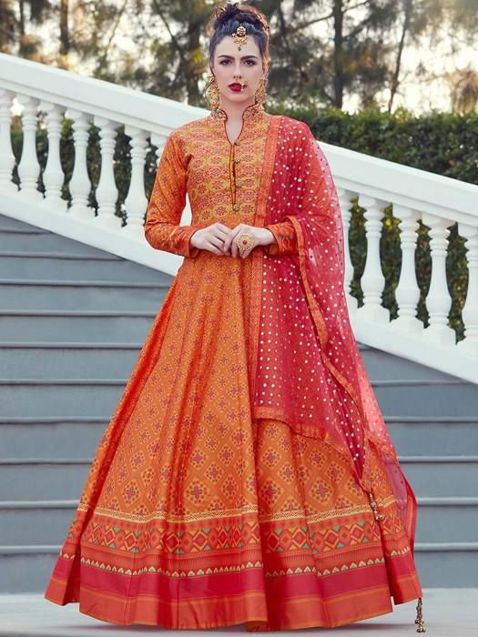 Orange Hue Patola Silk Fabric Anarkali Suit